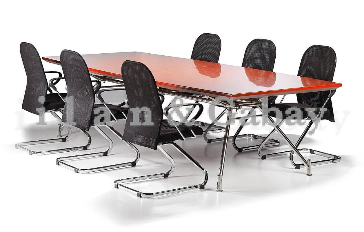 AMORE שולחן ישיבות קלאסי עם רגלי ניקל