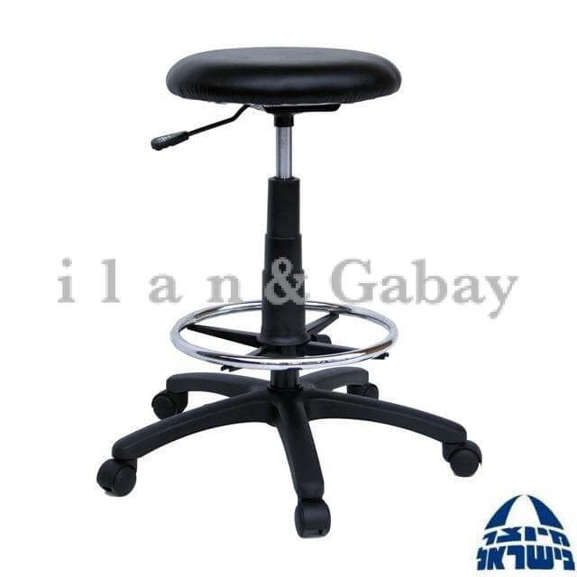 JECK כסא מעבדה מרופד עם בסיס חישוק מצופה בניקל