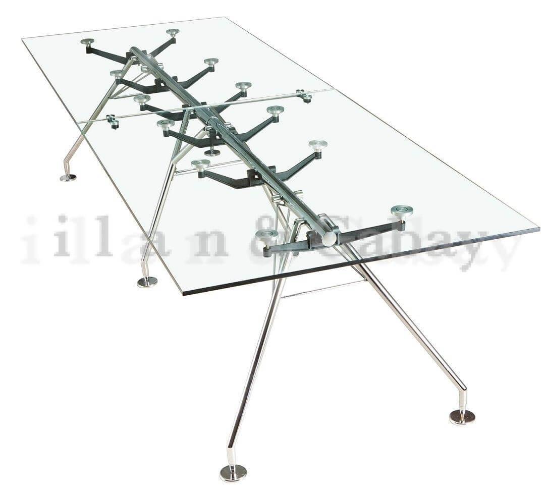 VERSACE שולחן ישיבות זכוכית ורגלי ניקל
